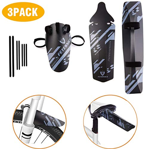 Smiterl Bike mtb Downtube Mudguards Set, Front Fender Rear Downtube Mudguards with 7 Cable Ties for Mountain Bikes 16'' 20'' 24'' 26'' 27'' 27.5'' 28'' 29''inch Wheel Sizes Bicycle Cycling