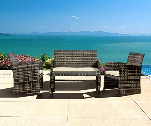 LAHAINA Outdoor Furniture 4 Piece Grey Wicker Patio Sofa Set - All Weather Cushioned Wicker Love Seat W/ Glass Top Table & Two Armchairs (Patio Wicker Cheap Furniture)
