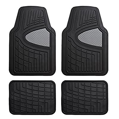 FH Group F11311 Premium Tall Channel Rubber Floor Mats, Solid Black Color w. F16406 Premium Trimmable Black Rubber Cargo Mat