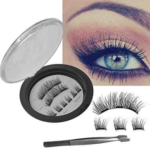 NO Glue 3D Magnetic Eyelashes REUSABLE 3-Magnets False Full Size Lightweight Natural Look Magnet Lashes False Lash Extensions with false Lashes Applicator Tweezers No Allery - Applicator Magnetic Standard