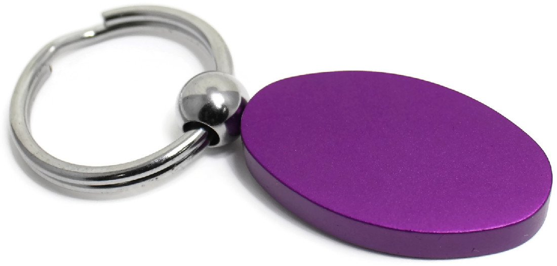Purple Aluminum Metal Oval Honda Logo Key Chain Fob Chrome Ring