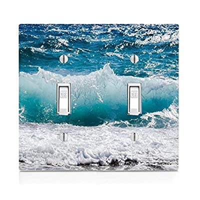 Moonlight Printing Ocean Wave on The Beach Double Light Switch Plate: Home & Kitchen