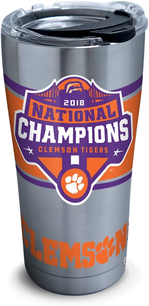 Tervis NCAA Clemson Tigers 2018 National Champions Stainless Steel Tumbler with Lid, 20 oz, Silver