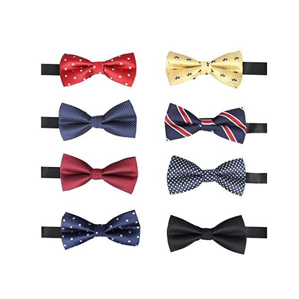 BASH 8 PACKS Elegant Adjustable Pre-tied bow ties for Men Boys in Different Colors