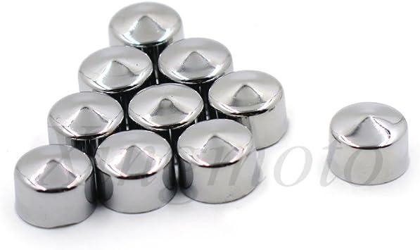 10 Piece Chrome 1//4 Allen Socket Bolt Cap Dress Kit Fits Harley Misc Hardware NBX