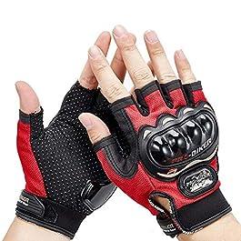 SHOOLIN Half Finger Motorcycle Riding Gloves (Medium, Red) (Set of 1)