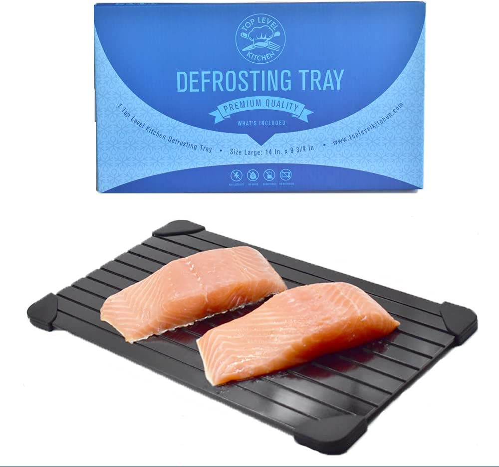 Meat Defrosting Tray - Large Defroster plate board will defrost food fast, Our rapid thawing mat is a natural, faster way to thaw frozen foods, Safer than using the fridge, Works like a miracle