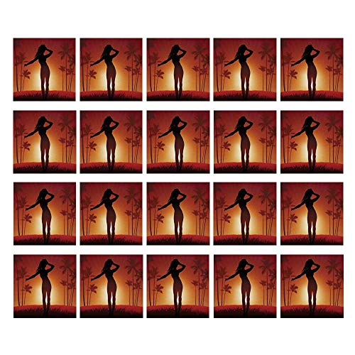 C COABALLA Girls 3D Ceramic Tile Stickers 20 Pieces,Silhouette of Female Human Body in The Sunshine of Exotic Lands Image Print for Home,3.9