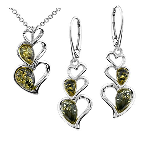 (Sterling Silver Green Amber Heart Earrings Pendant Set 18 Inches)