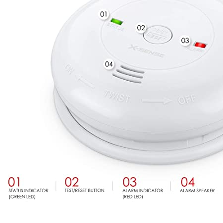 X-Sense Carbon Monoxide Alarm CM01, Battery Powered CO Detector with Test Reset Button, Precise Electrochemical Sensor, UL Listed Batteries Included