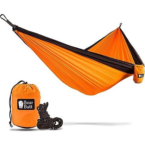 Bear Butt Double Parachute Camping Hammock, Orange / Black - Mens Social Web