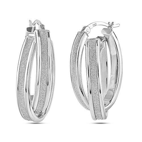 (LeCalla Sterling Silver Jewelry Oval Shape Rhodium Plated Glitter Hoop Earring for Women)