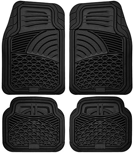 Motorup America Auto Floor Mats (4-Piece Set) All Season Rubber - Fits Select Vehicles Car Truck Van SUV, Shell Black