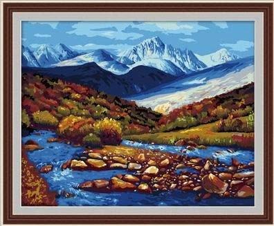佳彩天顏 diy數字油畫 手繪彩繪客廳風景裝飾畫 冰山河流 冰山河流 40