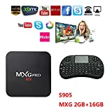 Android TV BOX MXG Pro 4K Improved Version Streaming Media Player Quad Core 2G/16G+Wireless Keyboard