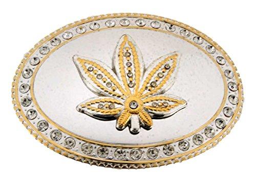 Wild Marijuana Leaf Weed Cannabis Plant Belt Buckle Stoner Rasta Reggae Costume (Gold)