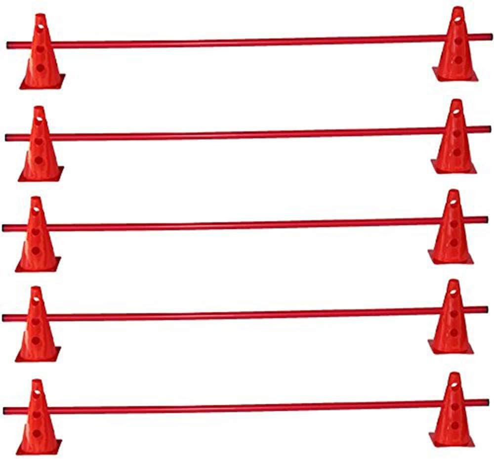 調整トレーニングのための5つのハードルのBojeスポーツセット - 10x MZK:23 cm、赤/ 5xポール:160 cm、赤