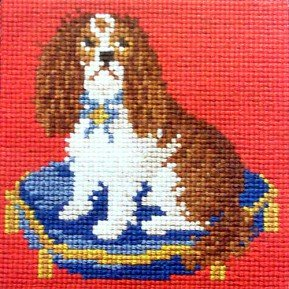Spaniel Puppy Mini Needlepoint Tapestry Kit with red background from Elizabeth Bradley easy and small English needlework project suitable for a beginner with 100% wool yarns. (Spaniel Needlepoint)