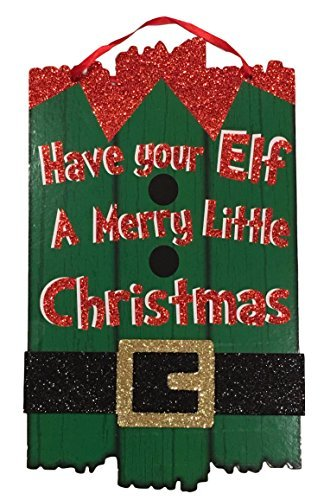 (Christmas Decor Glitter Sign - Santa Claus and Elf Merry Christmas Themes (Green Have Your Elf A Merry Little)