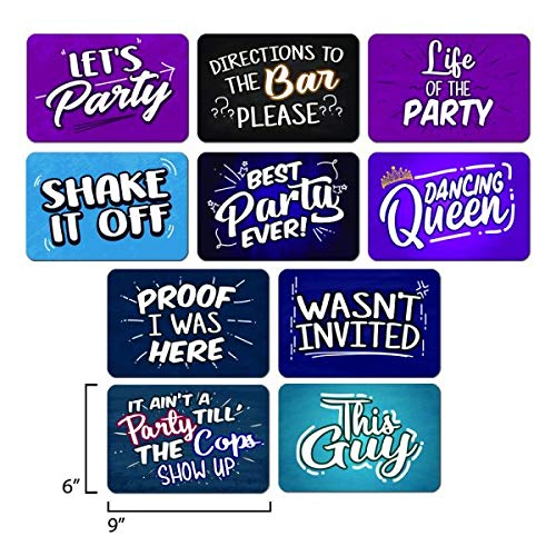 COOL PHOTO BOOTH SIGN PROPS - Set of 5 - Double Sided. Durable PVC Plastic. Reusable. Perfect for Photobooth Events, Birthday Parties, Weddings. Funny Photo booth Party Props. by Eventprinters