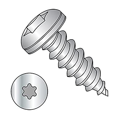 Pan Head 2 Length Square Drive Plain Finish 18-8 Stainless Steel Sheet Metal Screw Pack of 25 #10-12 Thread Size Type A