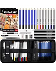 ELEAZAR Sketchbook with 2 copies50 pages, 42 colored pencils in a portable zipper box, watercolor pencils, sketch pencils n accessories including children n adults, beginners n professionals