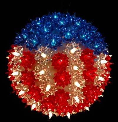 Bethlehem Lighting Indoor/Outdoor Christmas Standard Star Sphere 100, Red/White/Blue