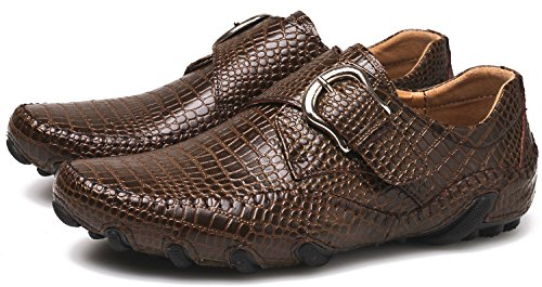 Flat Men Slip ZINGYOU On Casual Brown Loafers Shoes Moc Flexible Leather Driving BgTq7wxT8