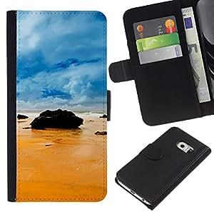 Planetar® Modelo colorido cuero carpeta tirón caso cubierta piel Holster Funda protección Para Samsung Galaxy S6 EDGE / SM-G925(NOT FOR S6!!!) / SM-G925(NOT FOR S6!!!) ( Rocks on the beach )