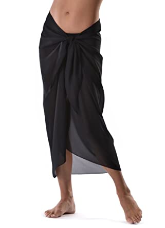 df893c447aa7b Large Black Sarong All Black Cover up Wrap Beachwear Maxi Summer Holidays  Cover up Scarf: Amazon.co.uk: Sports & Outdoors