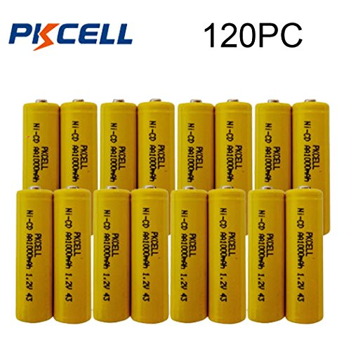1.2v Nicd 1000mAh AA Rechargeable Batteries for Garden Landscaping Solar Lights (120pc) by PK Cell