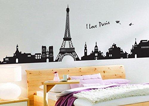 Syga \'I Love Paris Eiffel Tower\' Wall Sticker (PVC Vinyl, 61 cm x 5 cm x 5  cm)