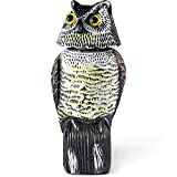 Ohuhu Horned Owl Decoy with Tweet (Motion Sensor), Natural Enemy Pest Deterrent Scarecrow with Rotating Head, Bird Control Repellents, Upgraded Version - 3 Different Tweet