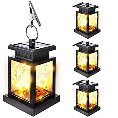SUPERDANNY 4 Pack Solar Lanterns Outdoor Hanging Waterproof Solar Powered Lamps Fairy String Lights with 30 Pcs Warm Light LEDs and Free Rope for Garden Patio Landscape Decorative