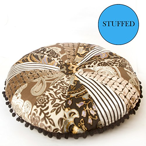 Luxury Round Pillow - Mandala Life ART Bohemian Floor Cushion –Luxury, Artisan Room Décor Pouf for Meditation, Yoga, and Boho Chic Seating Area Floor Pillow – – Handmade in India by (Cushion 20