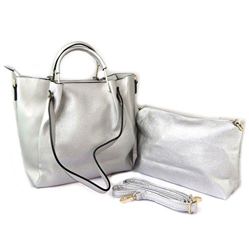 La bolsa 2 en 1 'Scarlett'plata - 38x28x12 cm.