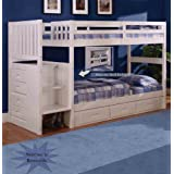 Discovery World Furniture White Staircase Bunk Bed Twin/Twin (Stair Stepper) with 3-Drawer Storage