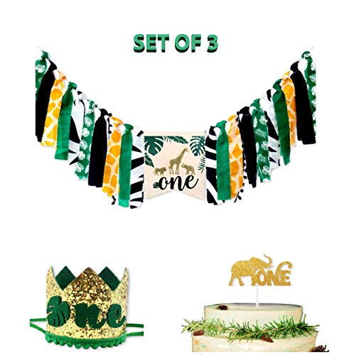 (E&L Handmade Jungle Adventure Wild One 3 in 1 Baby High Chair Decorations Set, High Chair Banner & One Adventure Themed Crown & Elephant One Cake Topper, for Baby Birthday Party Supplies )