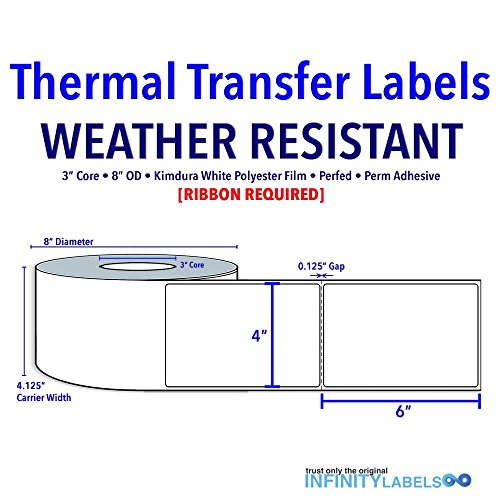 4'' X 6'' Thermal Transfer Specialty Labels - Kimdura White Polyester Film - 3C 8OD - Perfed [649326] by Infinity Labels