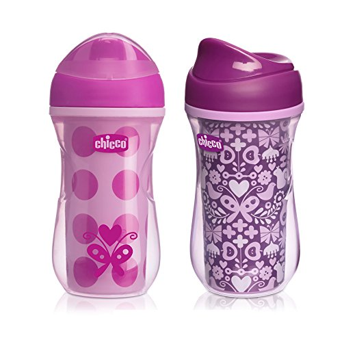 Chicco NaturalFit Insulated Rim Spout Trainer Sippy Cup, Pink/Purple, 9 Ounce, 2 ()