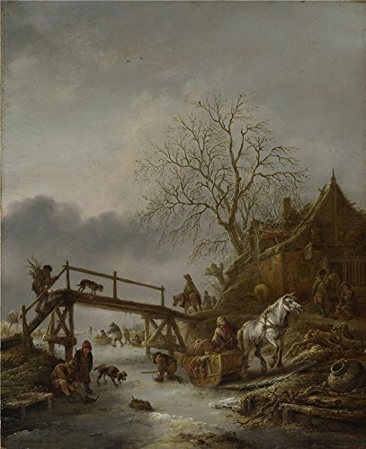 The Polyster Canvas Of Oil Painting 'Isack Van Ostade A Winter Scene ' ,size: 24 X 29 Inch / 61 X 75 Cm ,this Best Price Art Decorative Prints On Canvas Is Fit For Foyer Gallery Art And Home Gallery Art And Gifts (Scene 75 Prices)