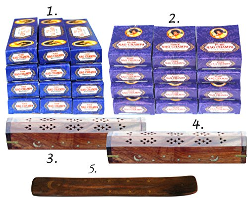 Savvy Shoppers' Gem. 5 - Item Wholesale Value Set : If in Doubt, Please Buy Sampler First. 12 Boxes of Nagchampa Incense Sticks , 120 Cones,  2 Carved Coffin Boxes and 1 Traditional Incense Holder (Traditional Incense)
