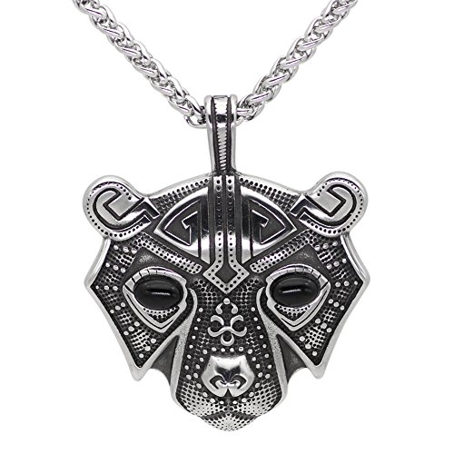 Steel Bear Stainless (GuoShuang Men stainless steel bear head norse viking amulet pendant necklace)