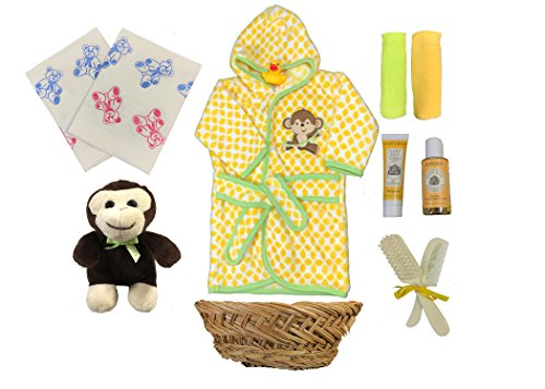 Baby Shower Gift Basket for a Boy - Monkey Bathrobe 11 Piece Newborn Gift Set