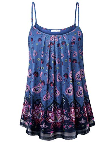 Messic Women's Pleated Layered Sleeveless Cami Tank Tunic Top Blue Floral ()