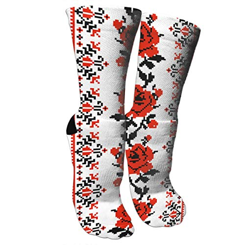 Embroidery Soccer 1 (CUUOP13 Ukrainian Embroidery Style Rose Unisex Compression Socks Foot Long Socks Sport Soccer Mesh Tube Socks One Size)
