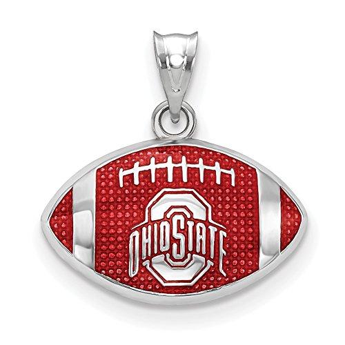 Lex & Lu LogoArt Sterling Silver The Ohio State University Enameled Football Pendant ()