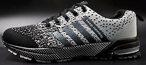 Jiye Sportschoenen Heren Dames Outdoor Tennis Jogging Wandelen Fashion Sneaker, Hardloopschoenen Wit Zwart