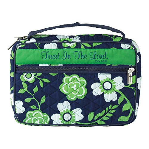 Trust in The Lord Green Floral Quilted Cotton Bible Cover Case, Thinline