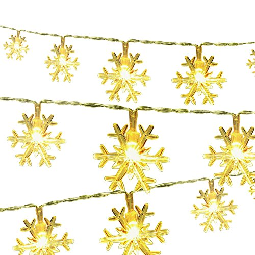 - Snowflake String Lights CFTech 6.5 ft 20 LED Fairy Lights Battery Operated Waterproof for Garden Patio Bedroom Party Decor Indoor Outdoor Celebration Lighting, Warm White (2M 20 Lights)